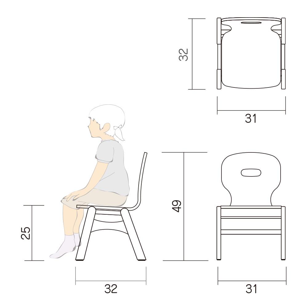 幼児 椅子 Aチェアー Atype M 図面