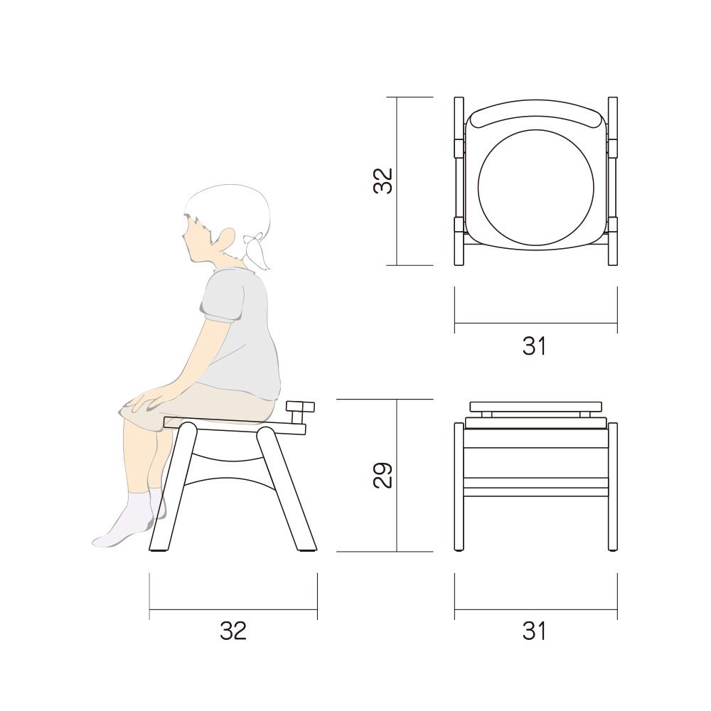 幼児 椅子 Aチェアー Btype M 図面