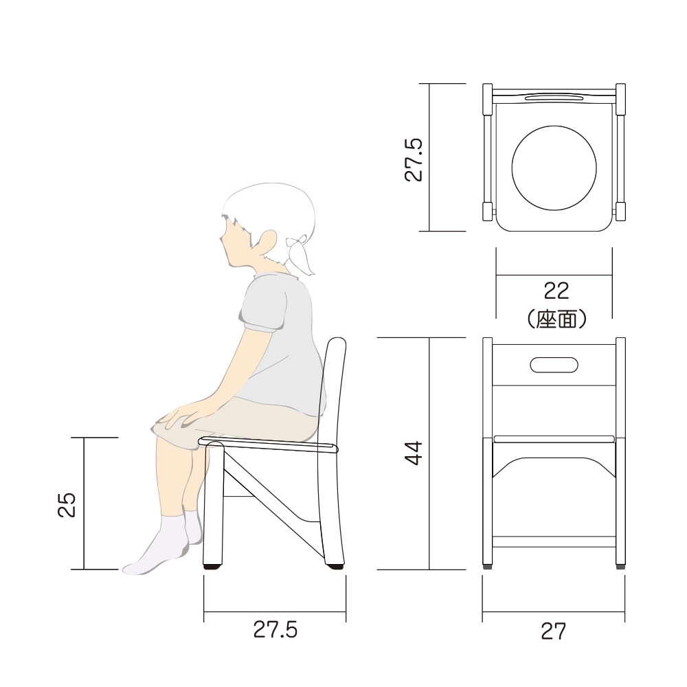 幼児 椅子 Hチェアー M 図面
