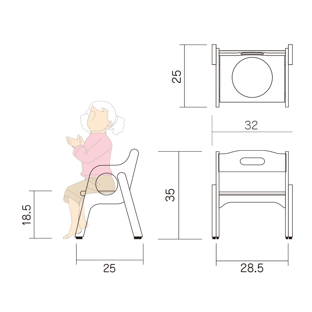 幼児 椅子 Hチェアー S1W 図面